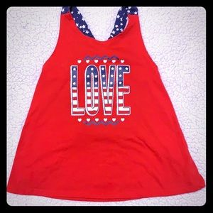 """Other - Toddler Girls """"LOVE"""" Red 🇺🇸 Tank SZ5T 100%Cotton"""
